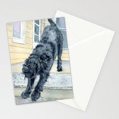 Stretching Black Labradoodle Stationery Cards