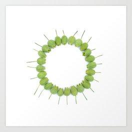 Green Wildflower Circle Art Print