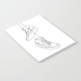 Sneakers simple minimal one line art, hanging shoes branded shoes  Notebook