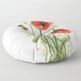 Red Poppies Watercolor Flower Floral Art Floor Pillow
