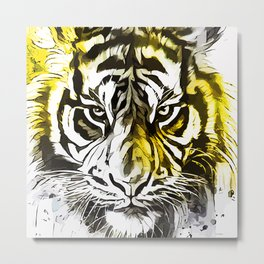 Yellow Tiger Metal Print