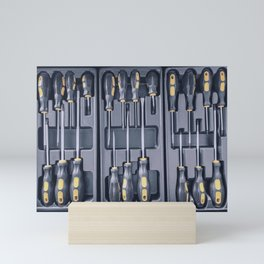 Set of Screwdrivers inside Toolbox, Screwdrivers Set, Box with Set of Tools, Set Mechanical Tools. Mini Art Print