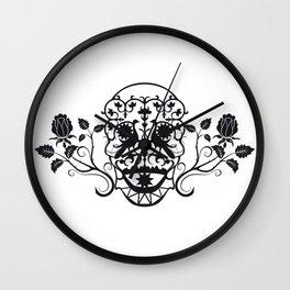 SKULL FLOWER 03 Wall Clock