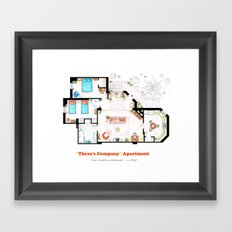 Floorplan of Three's Company Apartment Framed Art Print