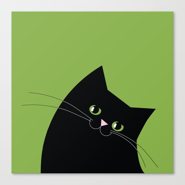 Black Cat and Color of the Year 2017, Greenery Canvas Print