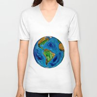 planet V-neck T-shirts featuring Planet by Edison Tezolin