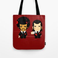 pulp fiction Tote Bags featuring pulp fiction by sEndro