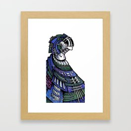 Blue poncho Framed Art Print