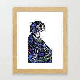 Blue poncho Framed Art Print