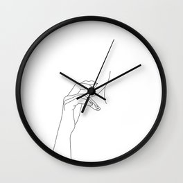 Hands line drawing illustration - Grace Wall Clock