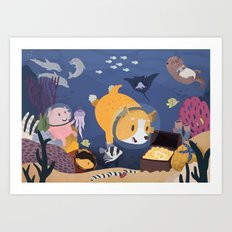 Diving For Treasure! Art Print