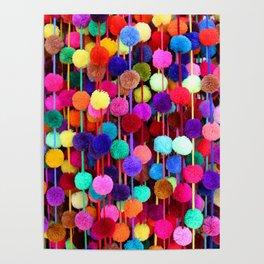 Rainbow Pom-poms (Vertical) Poster