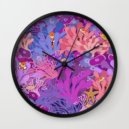 Block Party on the Reef - Clownfish Anemone Marine Sea Life Coral Wall Clock