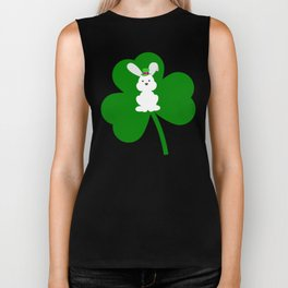 ST. PATRICK'S DAY BUNNY (abstract animals nature flowers happy irish, patricks) Biker Tank