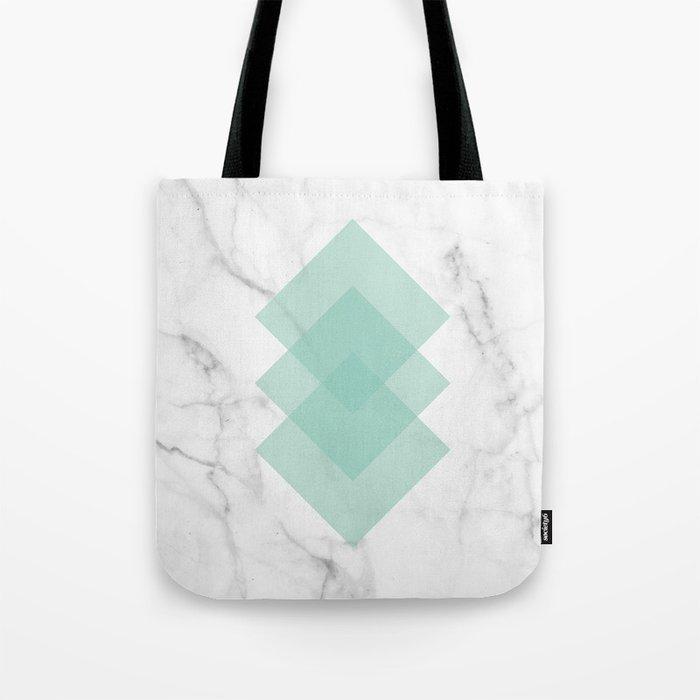 Marble Scandinavian Design Geometric Squares Tote Bag