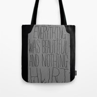 vonnegut Tote Bags featuring slaughterhouse V - everything was beautiful - vonnegut by miles to go