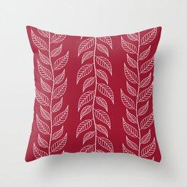 White leaves on burgundy Throw Pillow