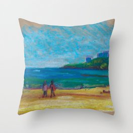 Beach in early spring. Oil pastel etude. Throw Pillow