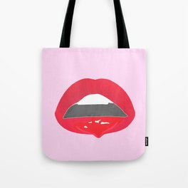 red dripping lips Tote Bag