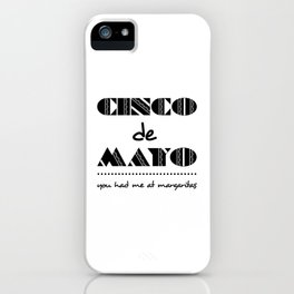Bold Cinco de Mayo Mexican Holiday Typography iPhone Case