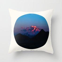 Mid Century Modern Round Circle Photo Purple Pink Snow Mountain Peak Throw Pillow