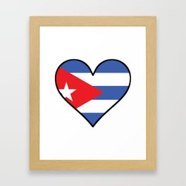 Cuban Flag Heart Framed Art Print