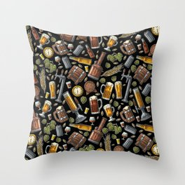 Beer Makes The World Go Round - Black Pattern Throw Pillow