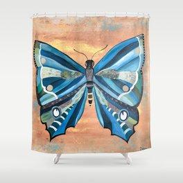 Beautiful Blue Butterfly Shower Curtain