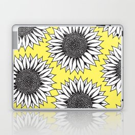 Yellow Sunflower in Black and White Hand Drawing Laptop & iPad Skin
