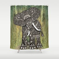 ornate elephant Shower Curtains featuring Ornate Elephant by ArtLovePassion