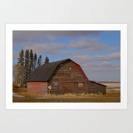 Red Barn on Blue Prairie Sky Art Print