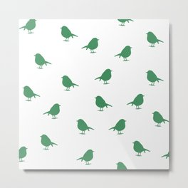 Micro Birds - forest green on white Metal Print