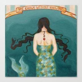 Mermaid Girl in the Midway, or She Knows Without Knowing Canvas Print