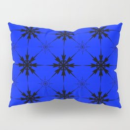 Pattern of luminous dark repetitive snowflakes on a blue background. Pillow Sham