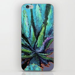BLUE DESERT AGAVE CACTI PASTEL ART iPhone Skin