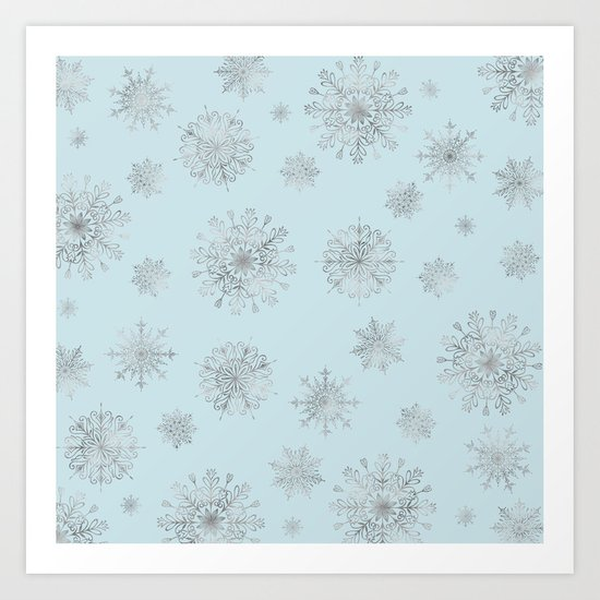 Assorted Silver Snowflakes On Light Blue Background Art Print