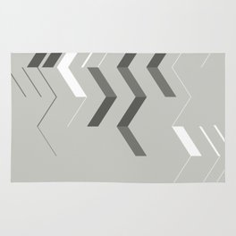 Deconstructed Chevron B – Gray / Teal Abstract Pattern Rug
