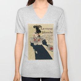Belle Epoque vintage poster, La Revue Blanche Unisex V-Neck
