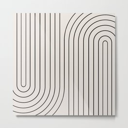 Minimal Line Curvature - Black and White I Metal Print