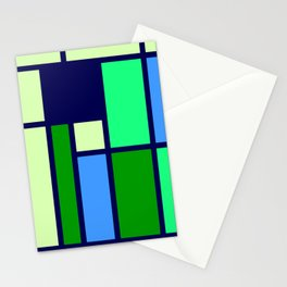 Mondrianista green blue Stationery Cards