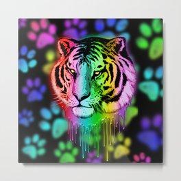 Tiger Neon Dripping Rainbow Colors Metal Print