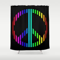 techno Shower Curtains featuring Techno Peace by JG Designs