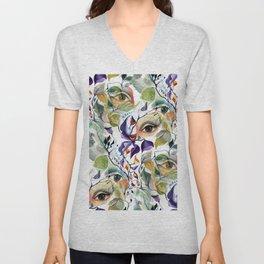 Chic Elegant Artistic Pshychedelic Utopian Painted Eyes Unisex V-Neck