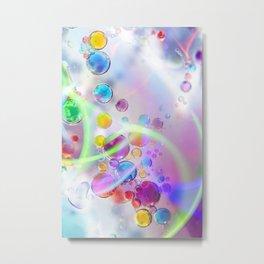 Unicorn Fantasy Rainbow Neon Bubbles X Metal Print