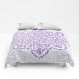 Lavender Mandala on White Marble Comforters