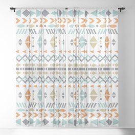 Southwestern Tribal Modern Geometric Stripes of Arrows Chevrons Diamonds Leaves Triangles Circles Sheer Curtain