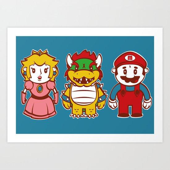 Chibi Mushroom Kingdom Art Print