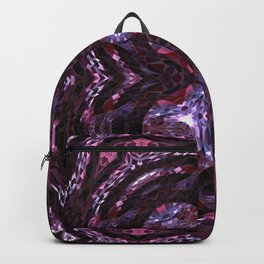 Alien planet purple forest in the night bright lights Backpack