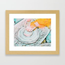 Hands of the ceramist craftsman Framed Art Print