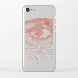 I see you. Rose Gold Pink Quartz on White Clear iPhone Case